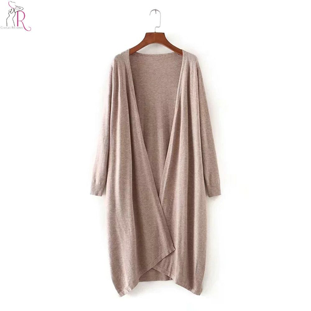 4 Colors Longline Knitted Cardigan Autumn Open Front Long Sleeve ...