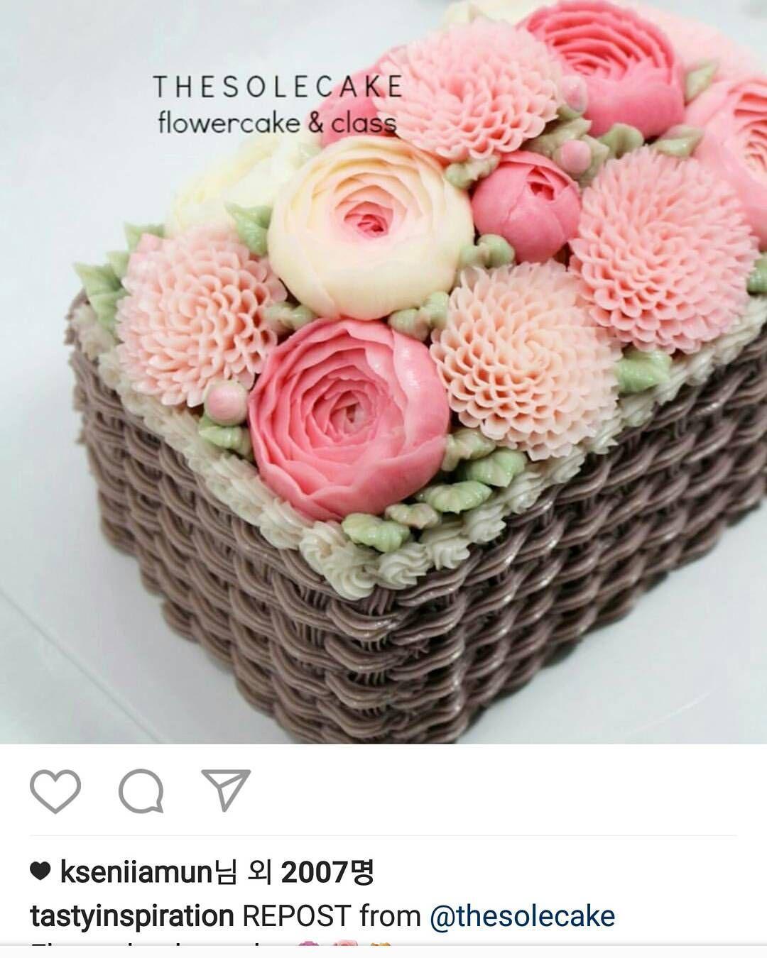꺅~~ 반신반의했던 바구니 아이싱.. 처음으로 '리포스트' 됐당..더 쏠! 더 열심히.. #케이크#버터크림플라워케이크 #버터크림케이크 #플라워케이크 #더쏠케이크 #클래스 #buttercreamcake #cake #flowercake #thesolecake #class #privatelesson