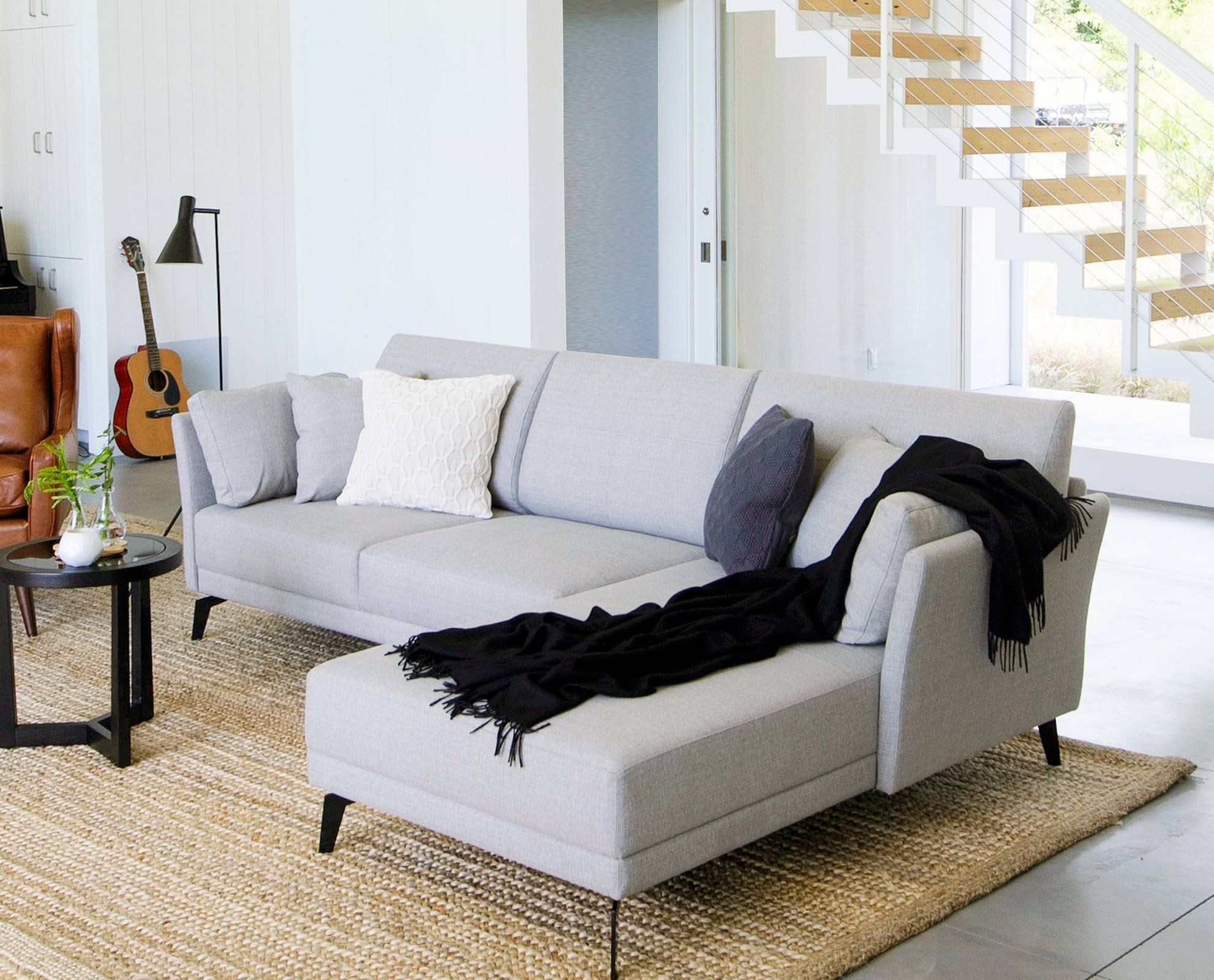 Modern Scandinavian Living Room Chaise Sofa By Scandis Tailored