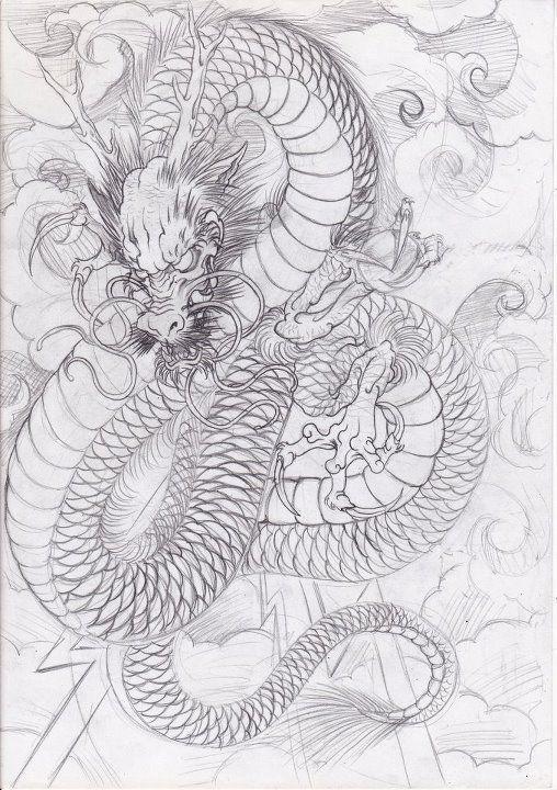 эскиз японского дракона Tattoo японские татуировки