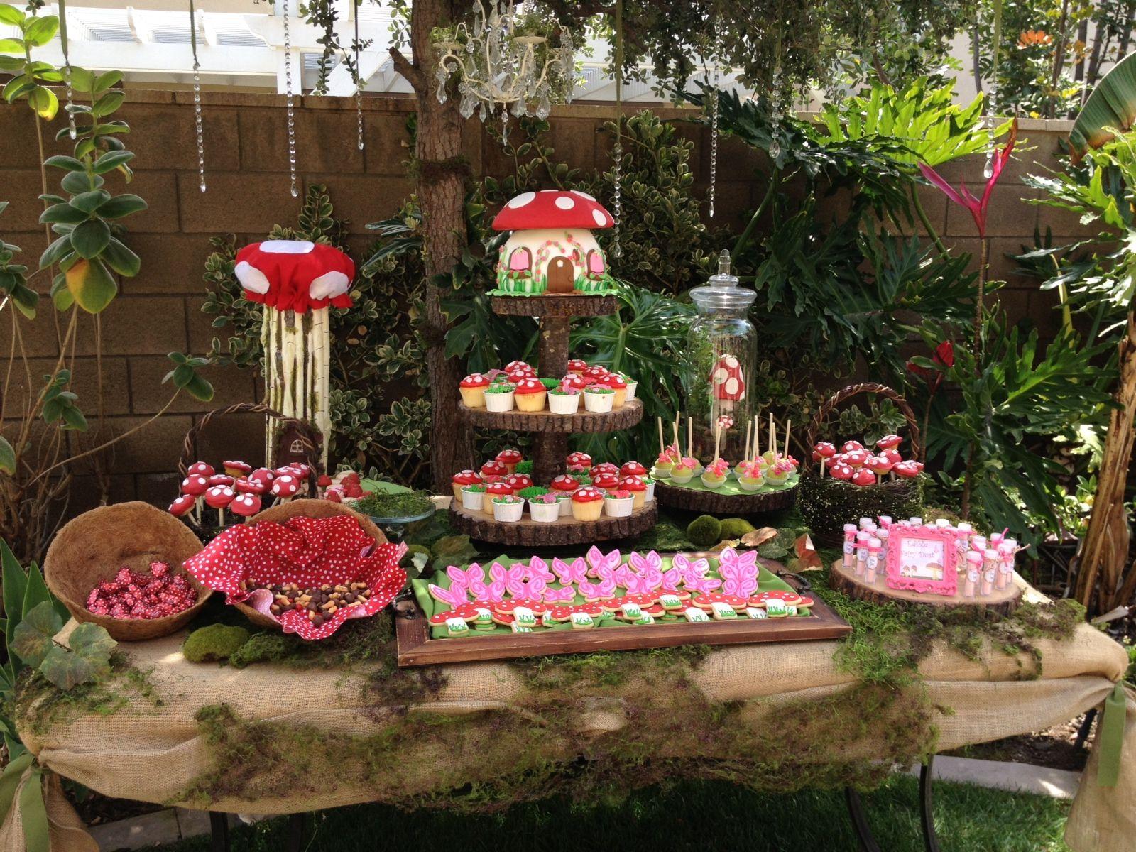 Woodland fairy dessert table