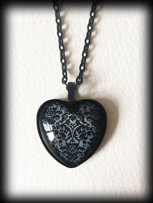 Antique Victorian Black Heart Pendant Charm