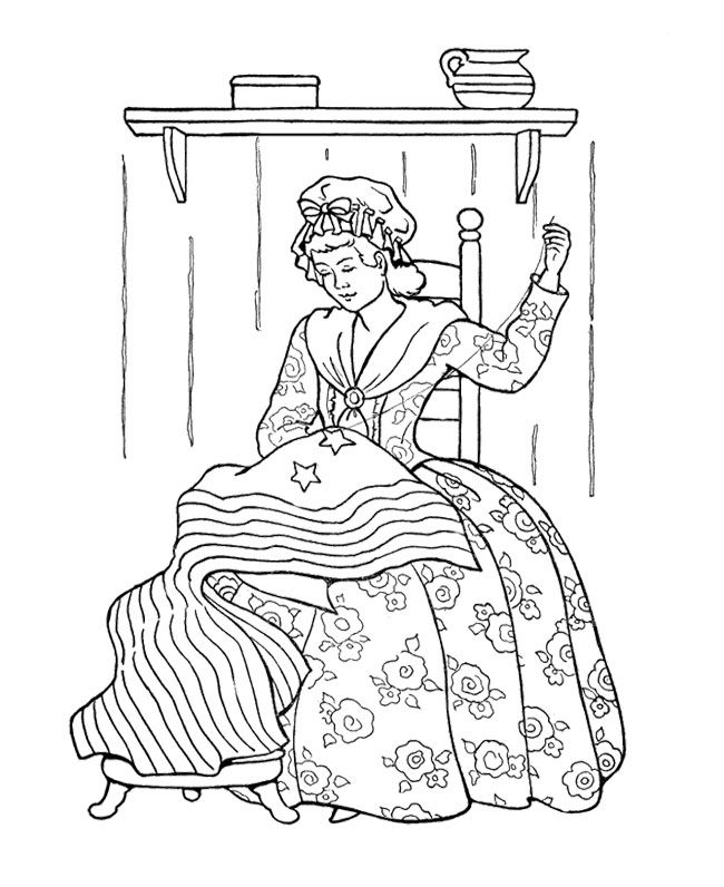 Betsy Ross And American Flag Coloring Page Kids Coloring Pages