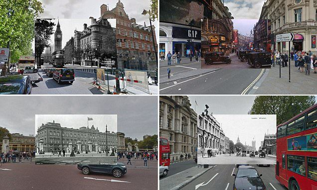 london map blends google street view with photos from 100 years ago