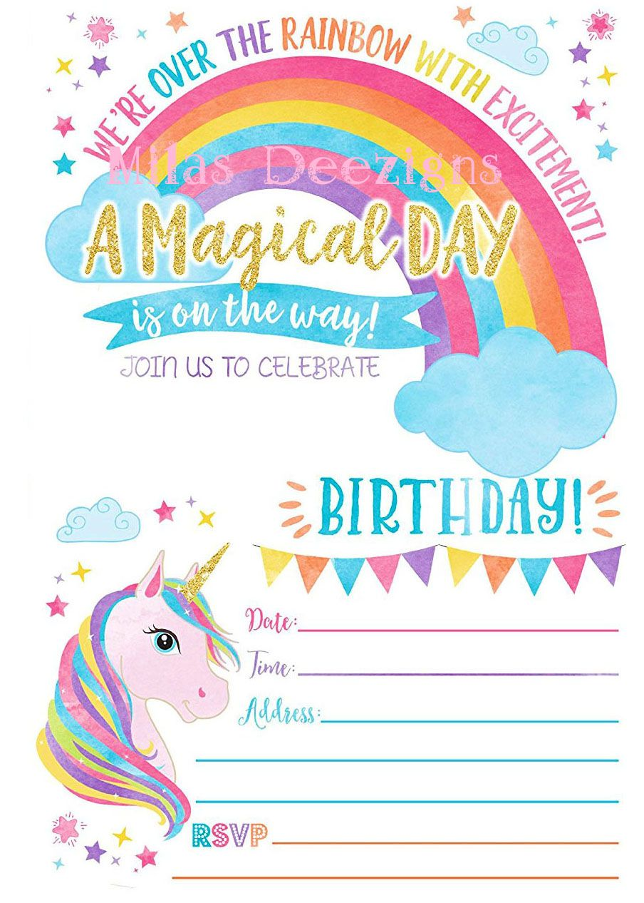 Rainbow Fill In Unicorn Printable Invitation