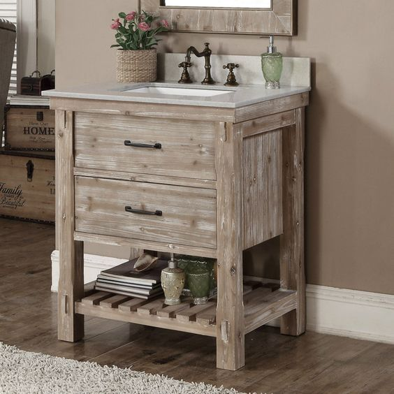 Small Whitewashed Bathroom Vanity With Drawers And A Shelf Rustic Bathroom Vanities Single Sink Bathroom Vanity Single Bathroom Vanity