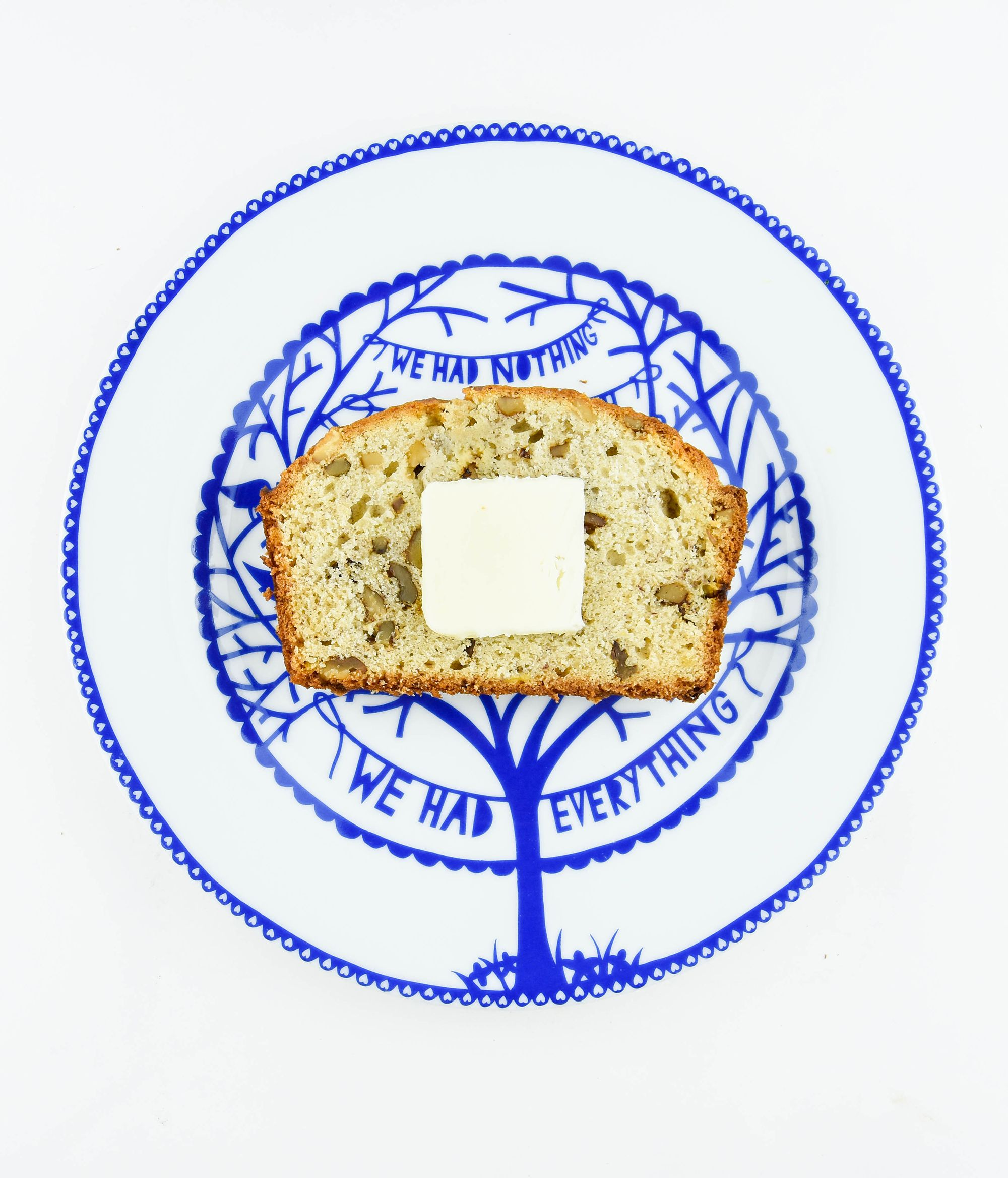 Grandma's banana nut bread recipe on Rob Ryan plate.