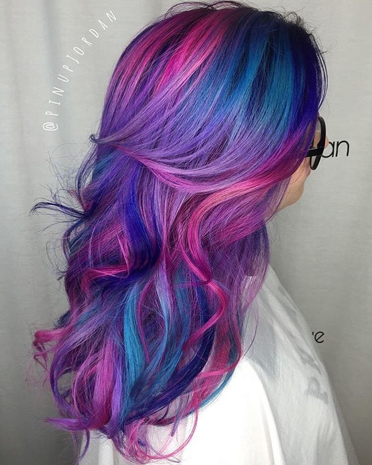 Mermaid Hair On Instagram Hair By Pinupjordan Hair Pink Purple Hairstyle Curl Modernsalon Pinkhair Mermaid Mermaid Hair Color Dyed Hair Pink Purple Hair