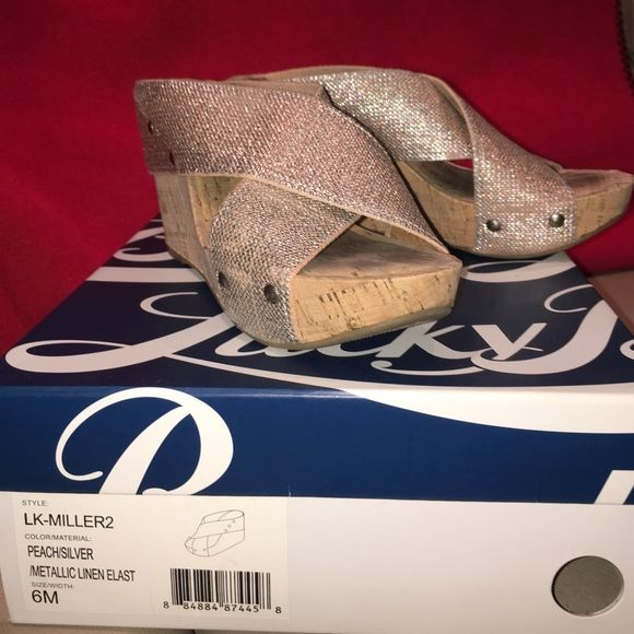 Lucky Metallic Wedges. Lucky wedges, worn twice. Lucky Brand Shoes Wedges