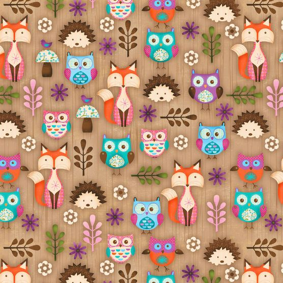 Novelty Cotton Fabric Woodland Critters Finley