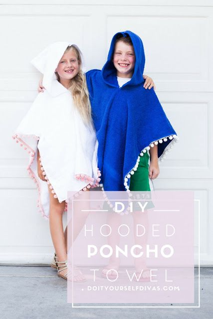 Do It Yourself Divas Diy Poncho Towel With Hood For The Pool Or