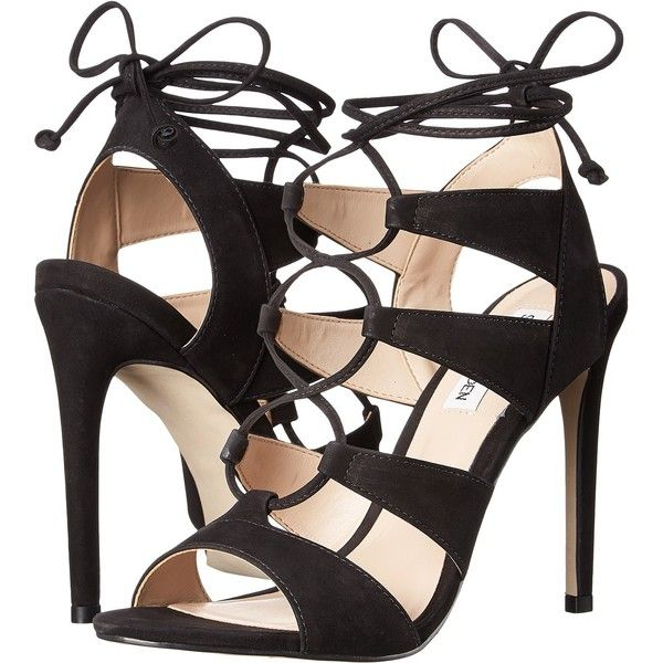 Steve Madden Sandalia (Black Nubuck) High Heels (€94) ❤ liked on Polyvore featuring shoes, black, stilettos shoes, steve madden, high heel platform shoes, platform shoes and platform lace up shoes