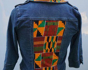 African denim jacket Ankara jeans jacket