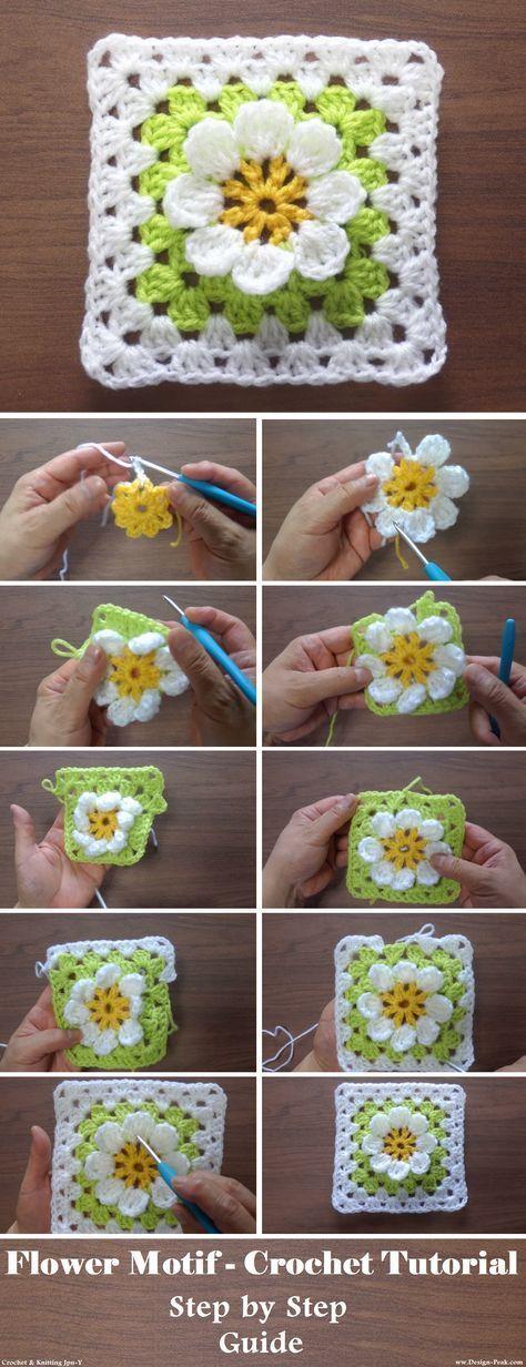 Motif de fleurs – Tutoriel au crochet – Design Peak   – crochet