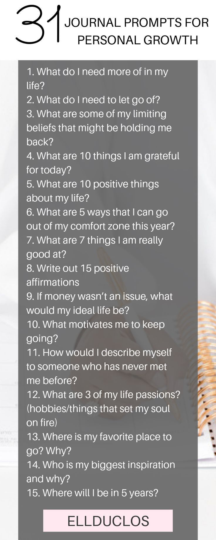 31 journal prompts for personal growth and self discovery. #journal #journalprompts #personaldevelopment #personalgrowth #journalideas #journaling #selfdiscovery #writingprompts #selflove