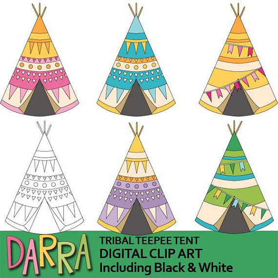 Camping Clipart Cute Tribal Teepeen Tent