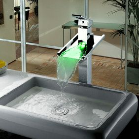 Color Changing Led Waterfall Bathroom Sink Tap Tall T8004a Sink Taps Http Www Mytap Com Au Bathroom Sink Taps Led Bathroom Si Sink Sink Faucets Led Faucet