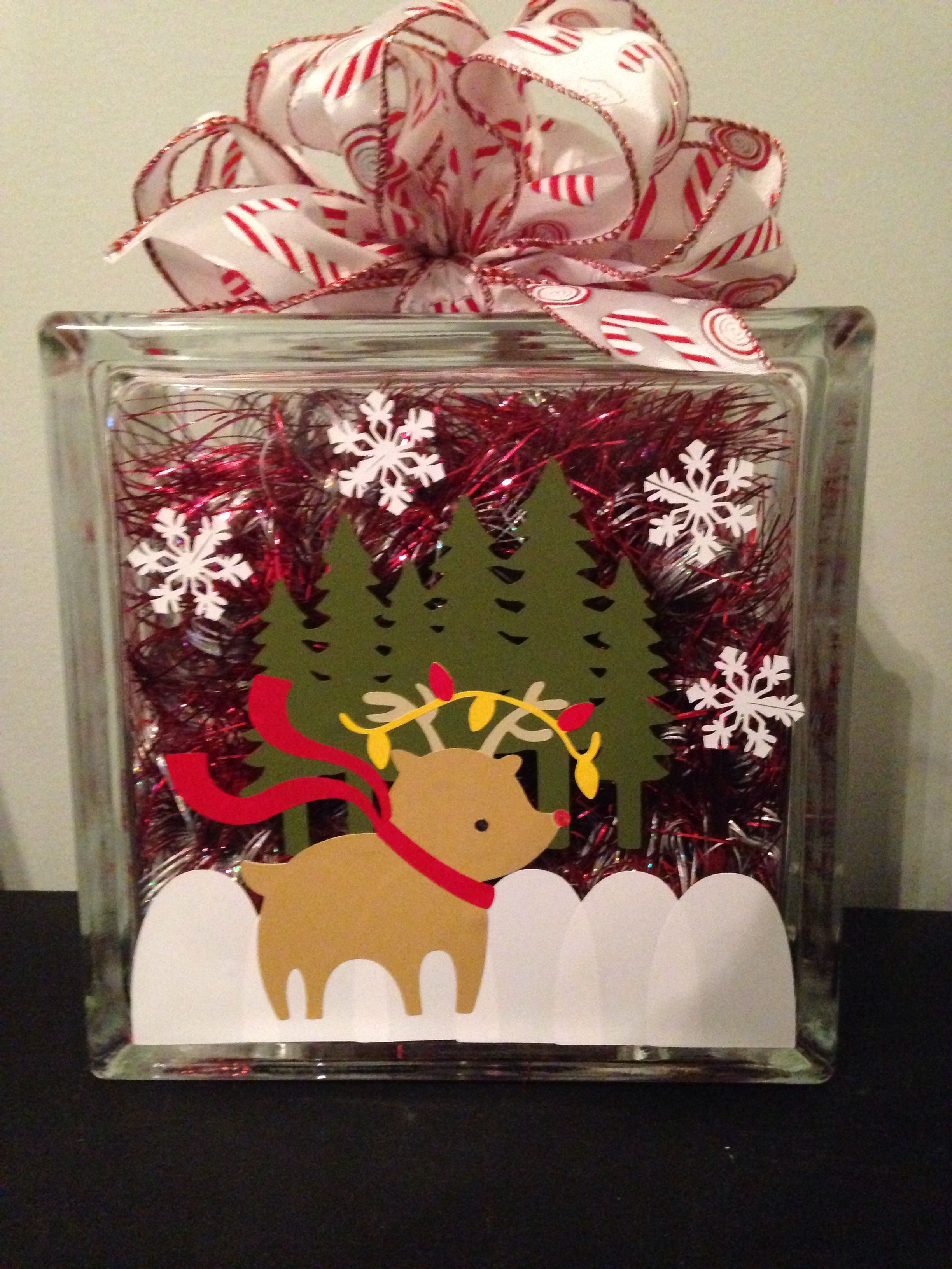 Made this lighted Christmas glass block for my mom :)