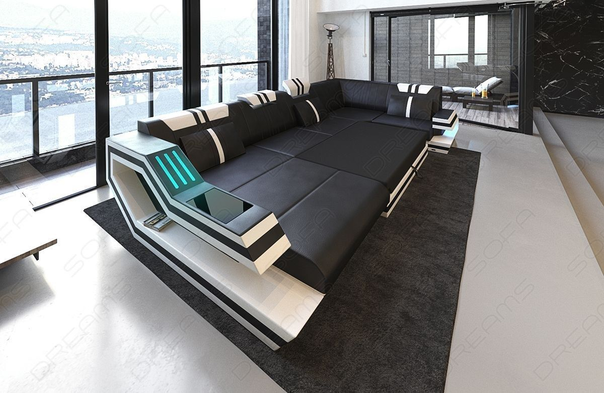 Design Sectional Sofa Hollywood U Shape With Led And Usb Leather