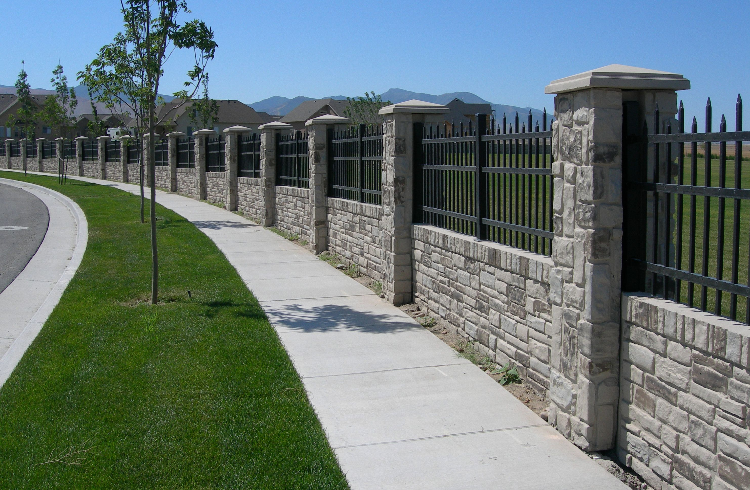 privacy fencing concrete walls with realistic stone texture and