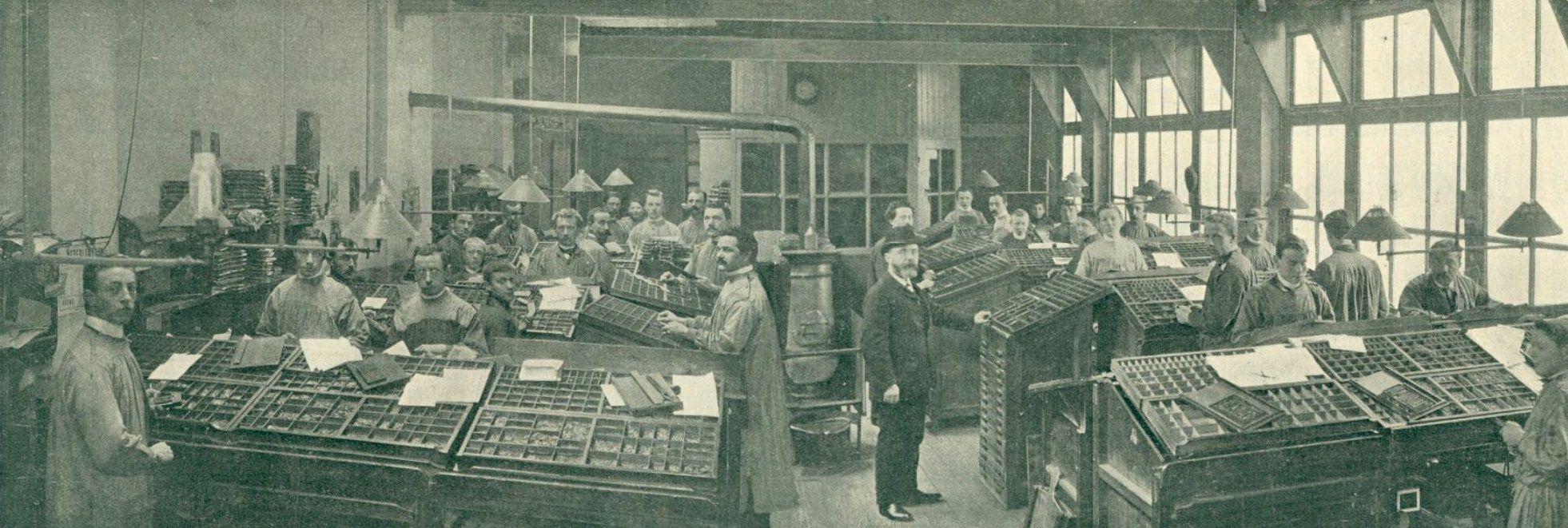 interieur van drukkerij het centrum op het janskerkhof 21