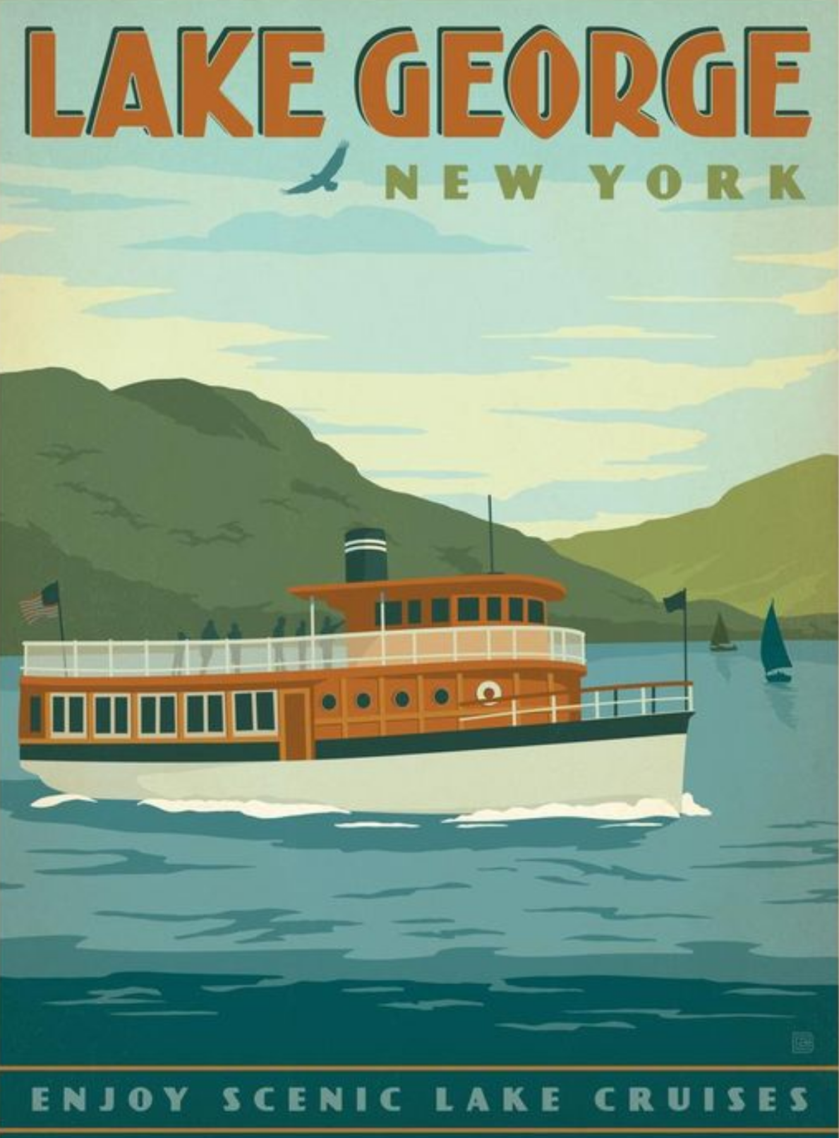 Lake George New York Anderson Design Group Vintage Travel  # Magasins Fly A Colmac