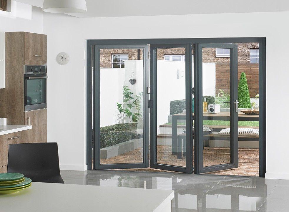 Supreme 3m Approx 10ft Grey Aluminium Triple Glazed Bifold Doors External Bifold Doors Room Divider Doors