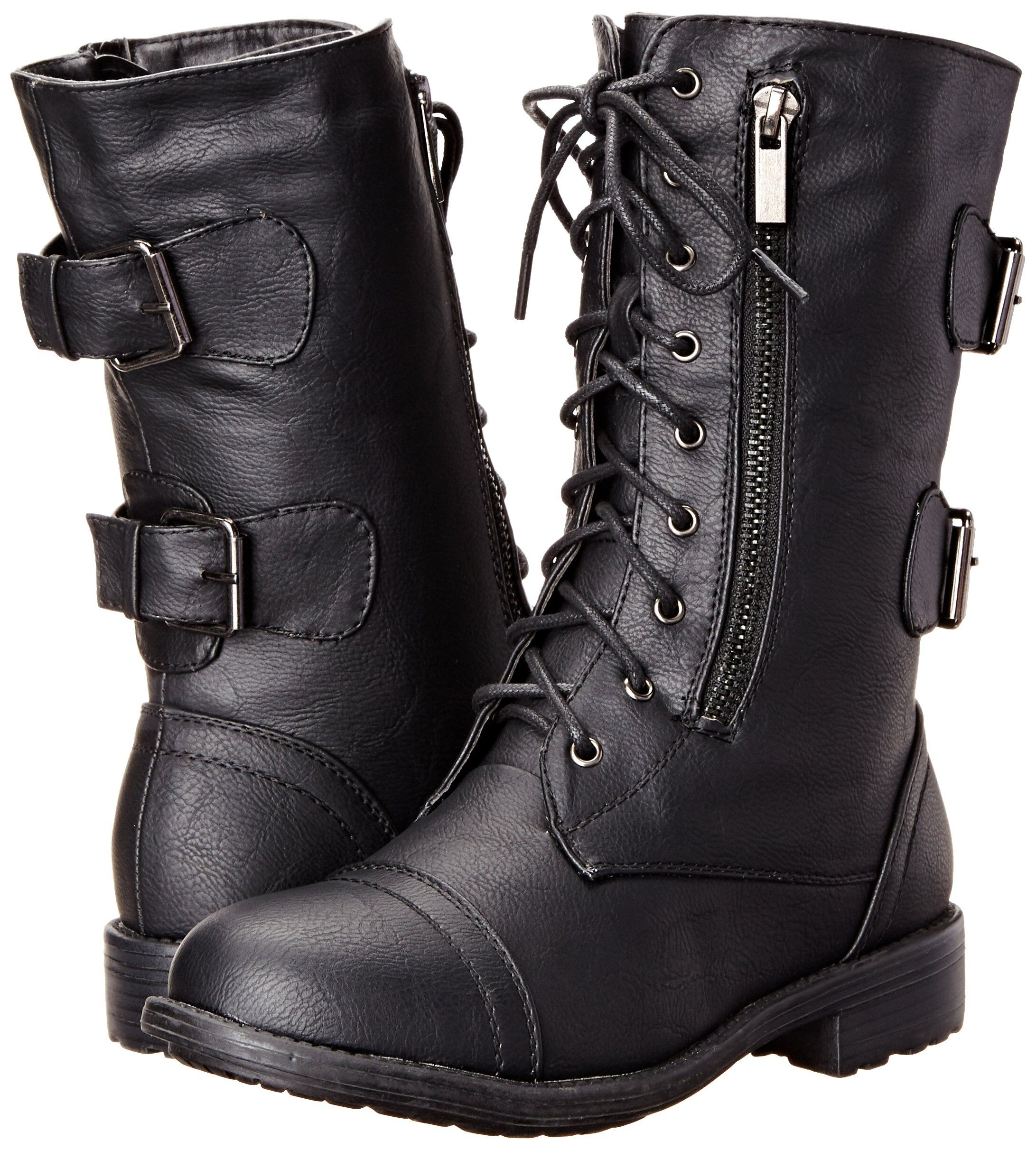 TOP MODA WOMEN/'S PACK-72 MILITARY LACE UP MID CALF COMBAT BOOT COLOR BLACK