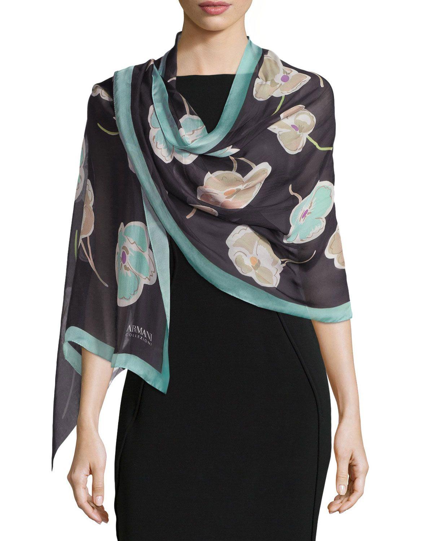 Floral Silk Chiffon Stole, Black - Armani Collezioni