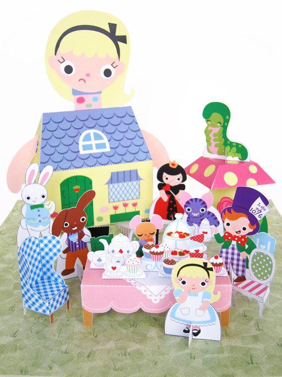 Alice in Wonderland Kawaii Playset Printable Paper Craft PDF. $4.00