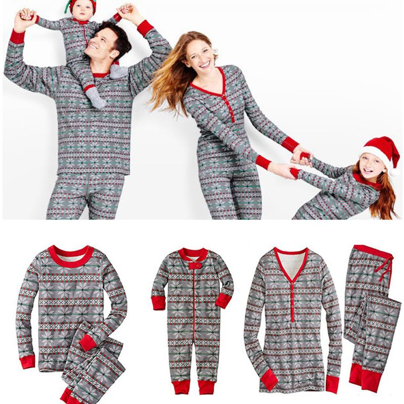 family christmas pajamas adult kids babys o neck long sleeve winter 2 piece set combinaison femme