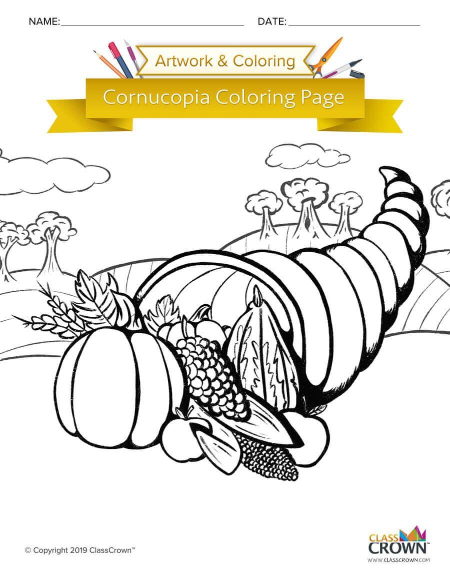 Fun horn of plenty cornucopia coloring page for you kiddos ...