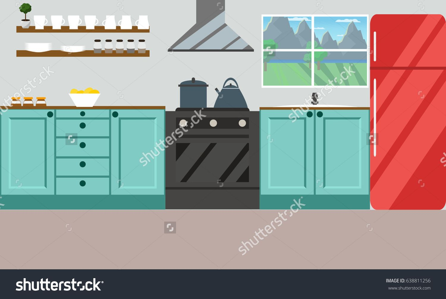 Cartoon kitchen with cabinets and window vector art illustration - Kitchen Vector Illustration Flat Design Cute Drawing Of Bright Kitchen Shutterstock Pinterest Flat Design Drawings And Illustrations