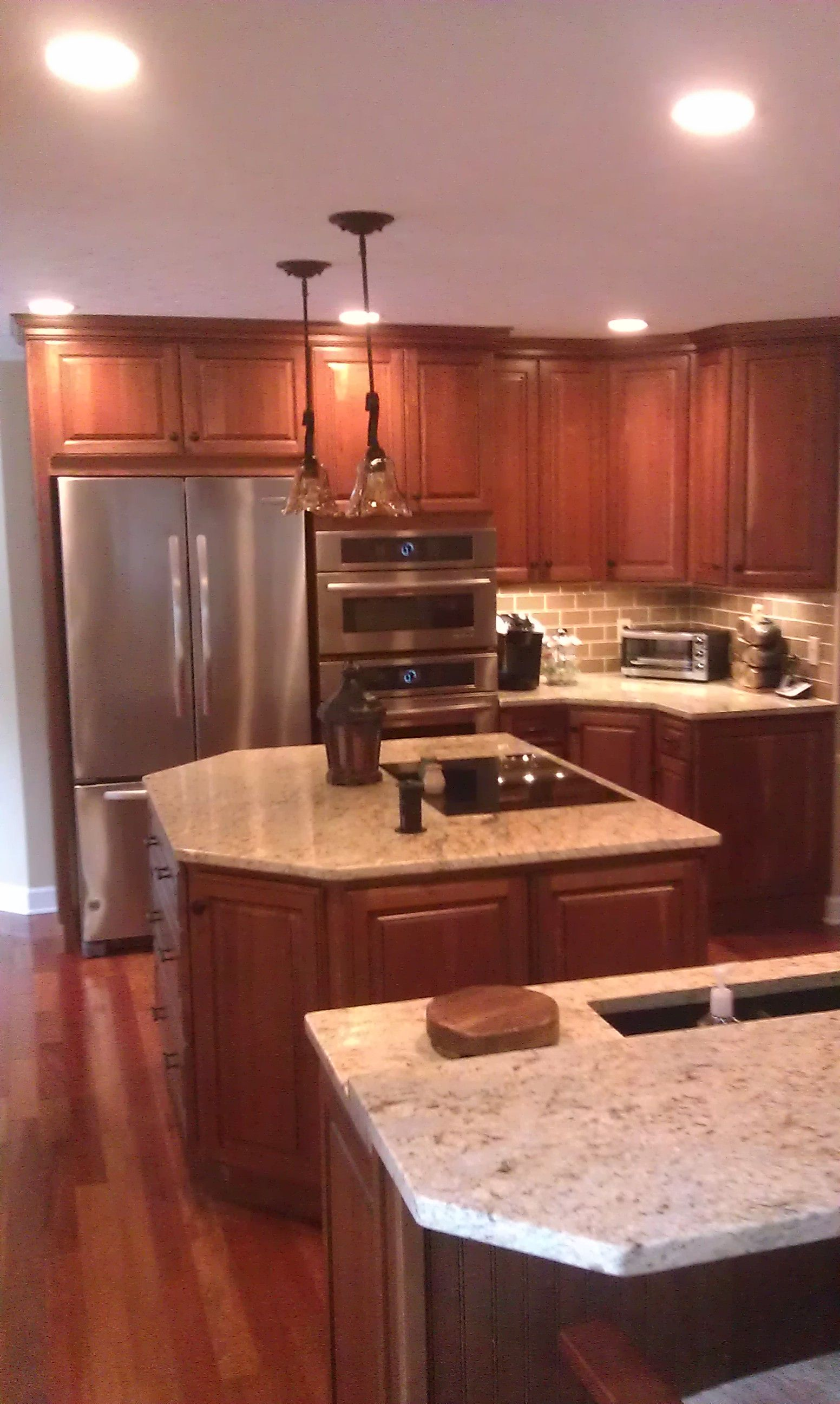 Kitchen cabinet with two Islands, Homecrest cabinets, Jamison door ...