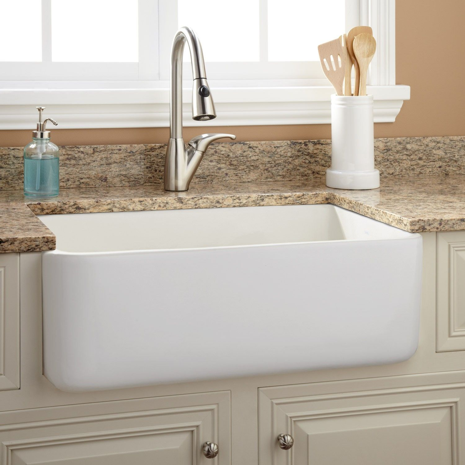 30 Durant Reversible Fireclay Farmhouse Sink Smooth A White 699