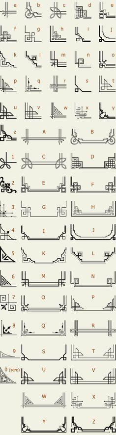 Letterhead Fonts / LHF Corner Specimens / Scrolls and Borders. menbretes o tribales para adornar esquinas de hojas