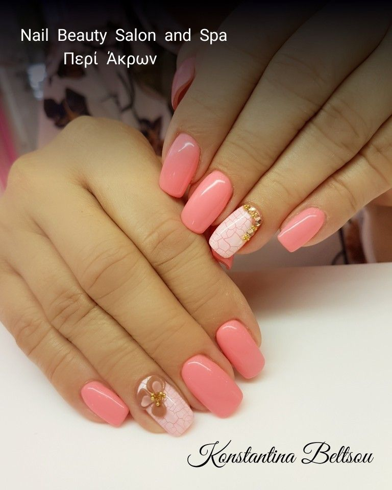 Gel nails, long square Oval nails , gel polish, cracked effect, 3d ...