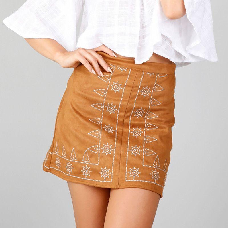 BONGOR LUSS Autumn Geometric Embroidery Suede Leather Women Skirt 90's Vintage Slim Short Skirt Winter High Waist Casual Skirts