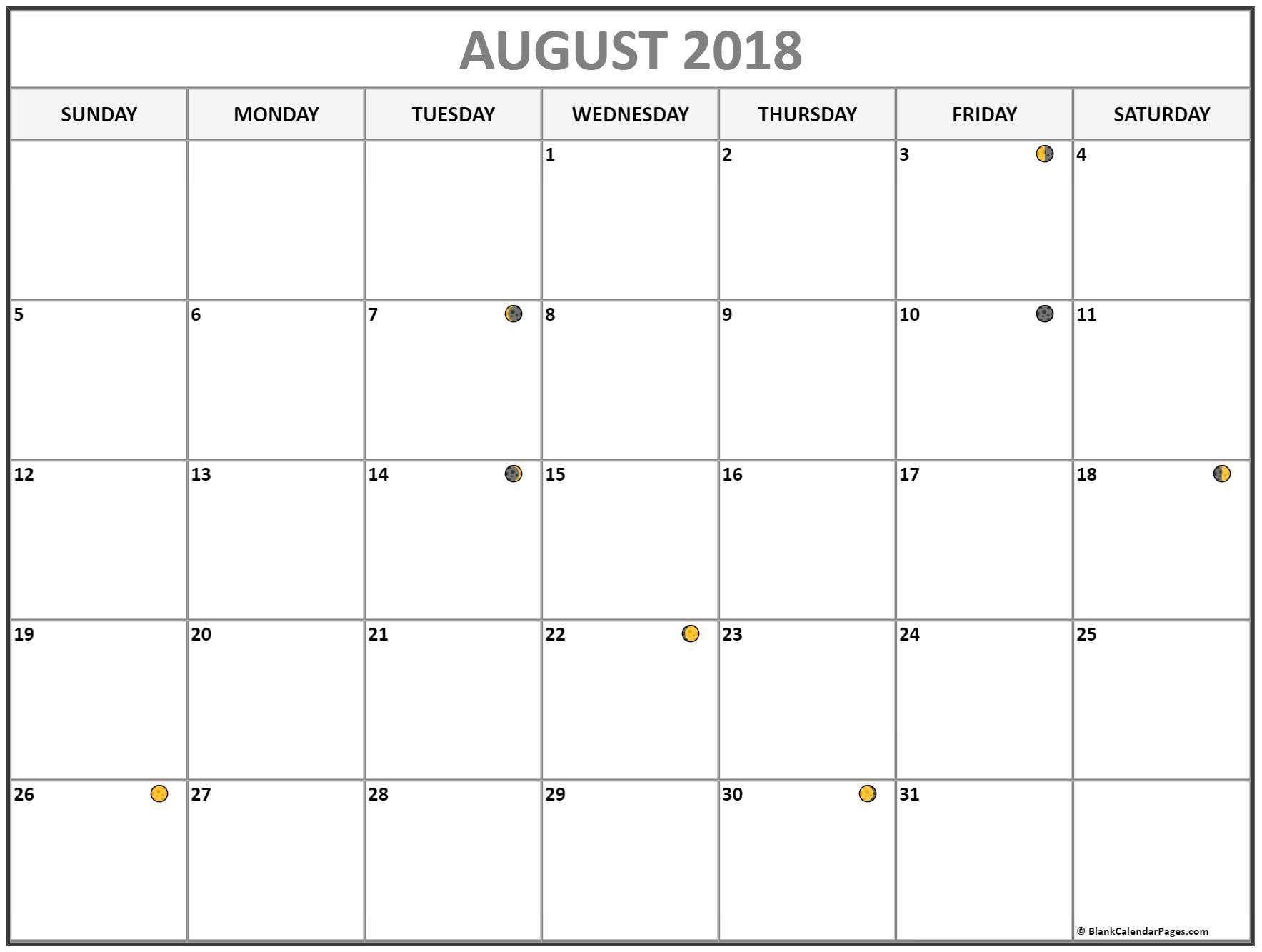 August Lunar Calendar Moon Phase Calendar With