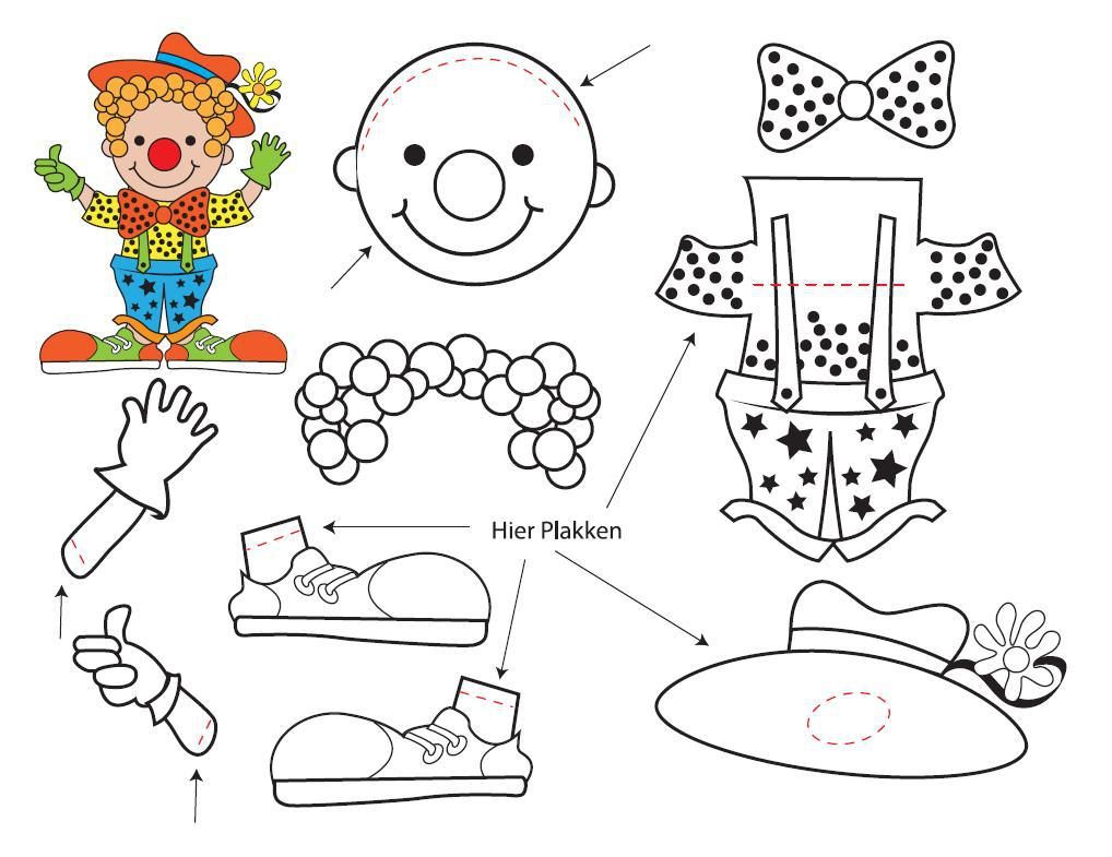Bouwplaat Voorbeeld Clown Carnaval Knutselen Met Papier Knutselideeen