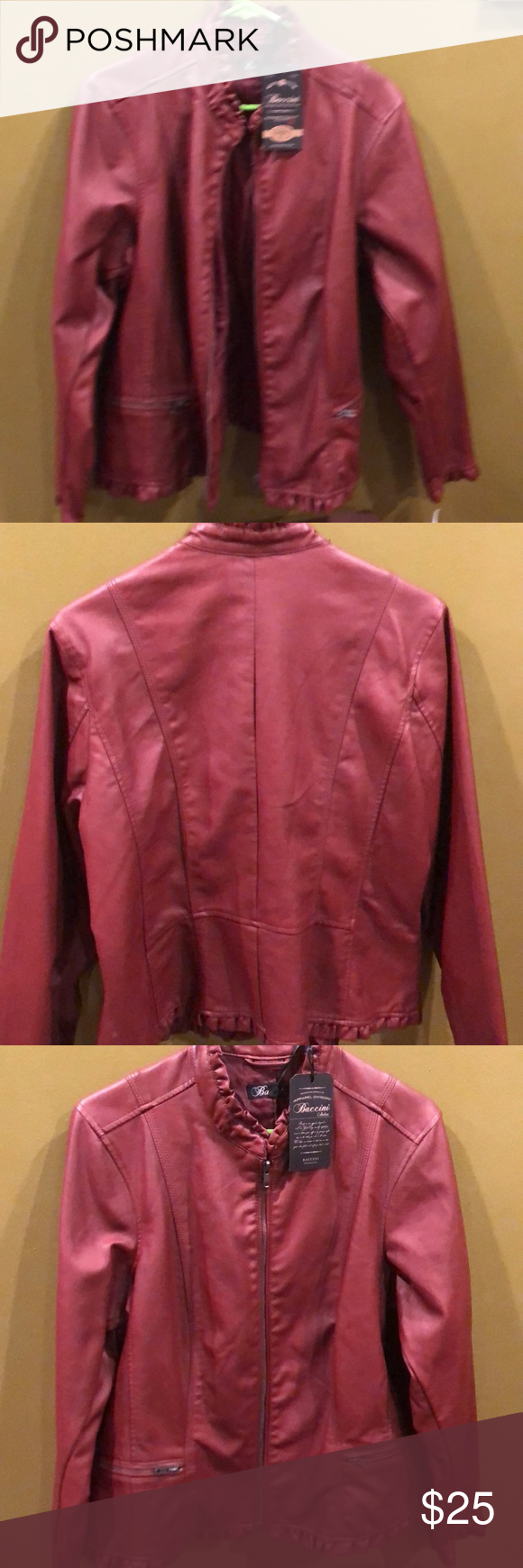 c572defd2 Baccini leather jacket Never worn tags still attached crimson red ...