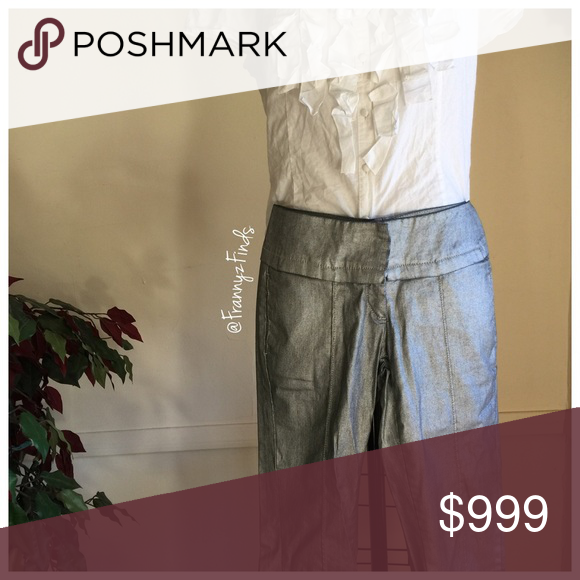 """• She Said Silver Metallic Ankle Pant • EUC • Funky Statement Pant • Four Pockets • Zip Fly • Inseam 26"""" she said... Pants"""