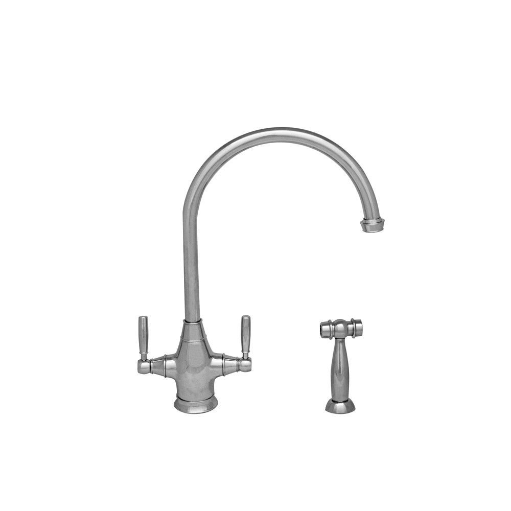 Queenhaus double handle deck mounted standard kitchen faucet with