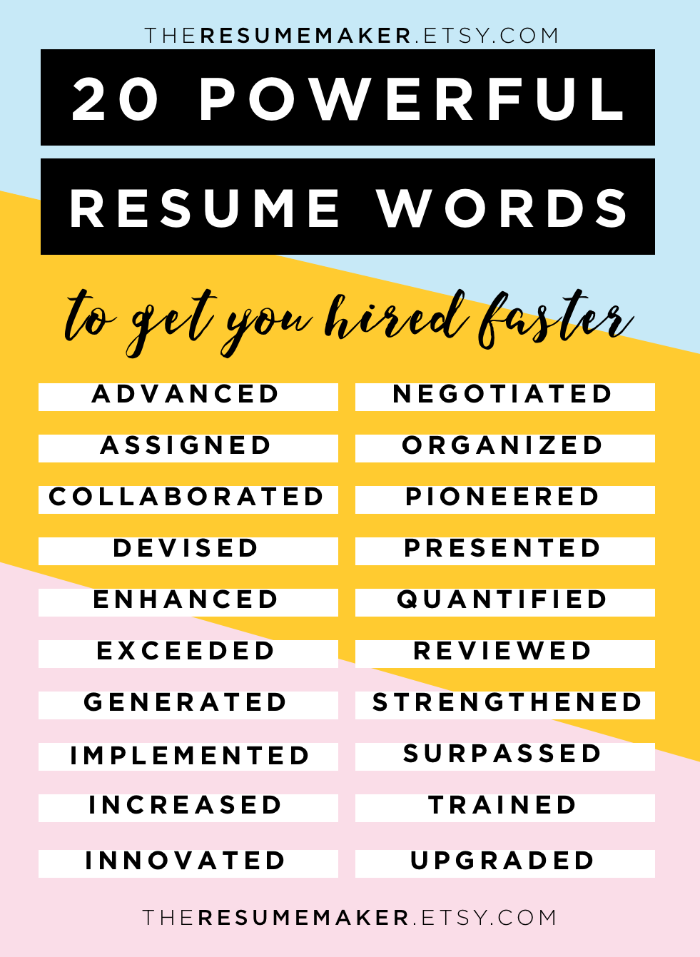 Perfect Resume Power Words, Free Resume Tips, Resume Template, Resume Words, Action  Words Regarding Resume Building Words