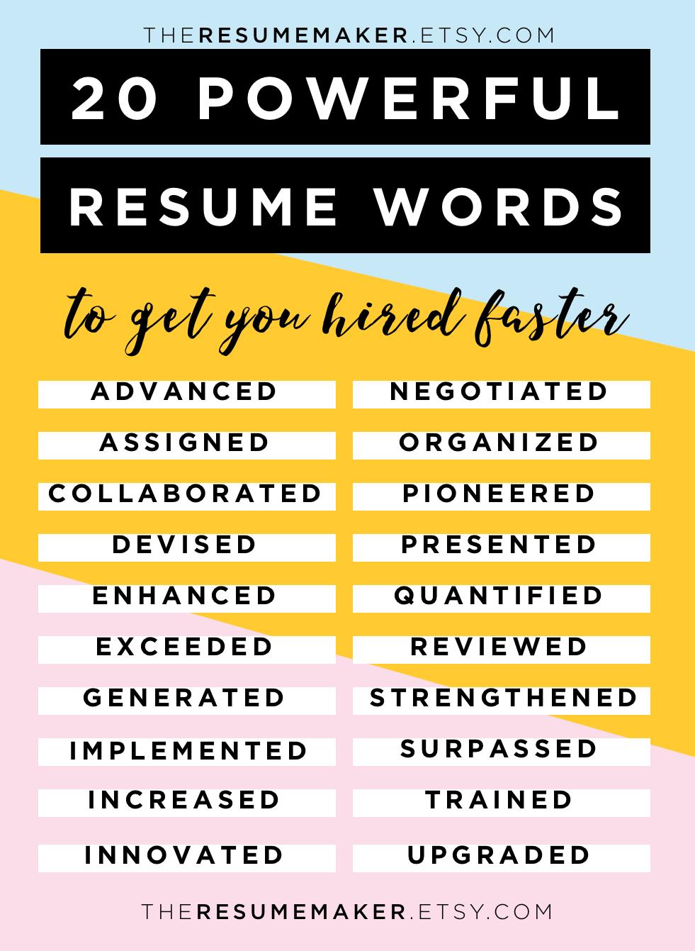 Resume Power Words Free Resume Tips Resume Template Resume Words Action Words Resume Tips College Resume He Resume Power Words Resume Advice Resume Words