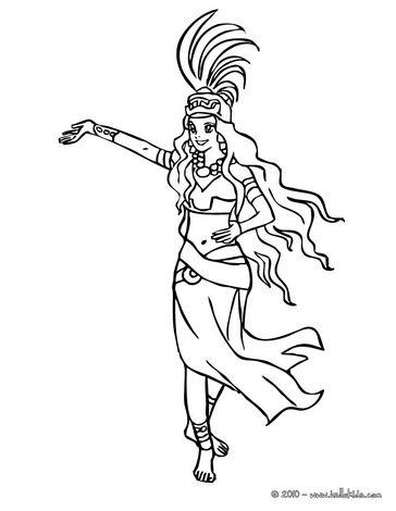 Mayan Princess Dancing Coloring Page Princess Coloring Pages