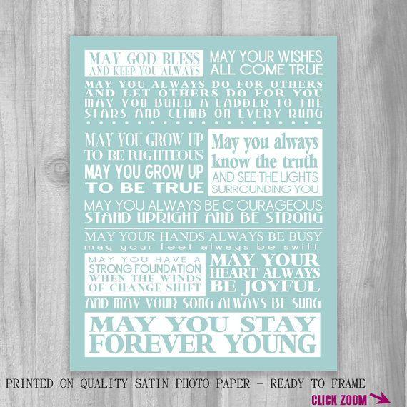 Forever Young Lyrics Print Bob Dylan Song Lyrics Custom ...