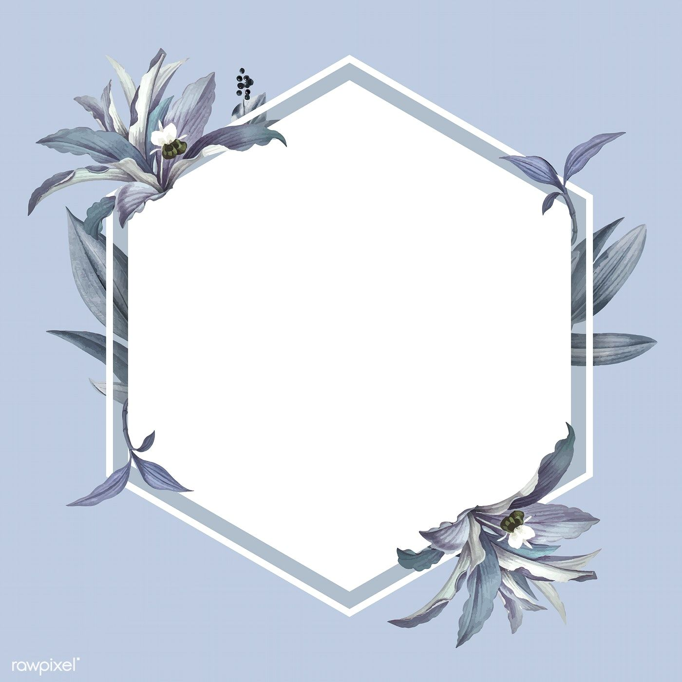 Download Premium Vector Of Empty Frame With Blue Leaves Design Vector Empty Frames Blue Leaves Flower Frame