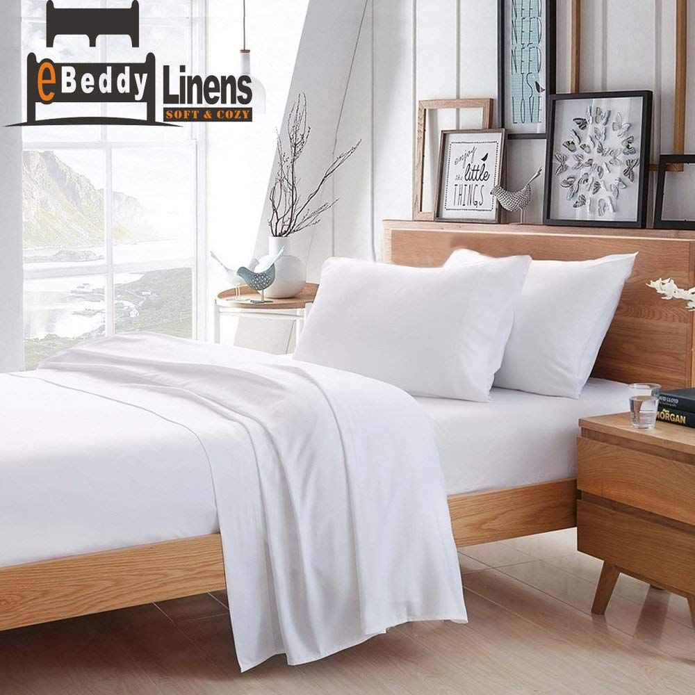 Ebeddy Linens 800 Thread Count Hypoallergenic Soft 4 Pieces Bed Sheet Set Single Ply Sateen Weave Natural Cotton Cal Kin Bed Sheet Sets Bed Cal King Size