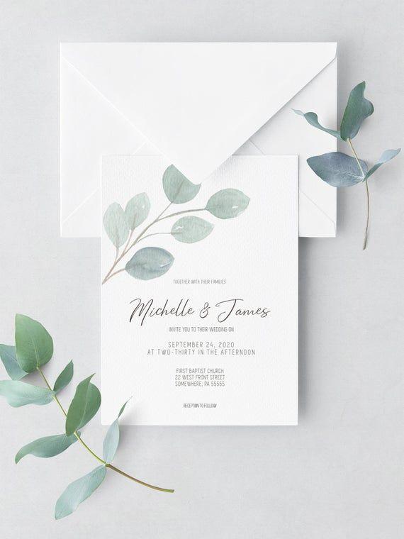Simple Eucalyptus Wedding Invitation Set Template, Greenery Wedding Invitation, Minimalist Wedding Invitation Set